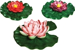 Pond & Fountain Floating Flowers 3pk (1LG, 2SM) Realistic Easy Care