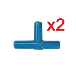 T Airline Tubing Connector (x2) Blue Fits Standard Airline Tubing