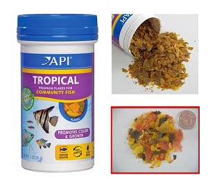 API Tropical Fish Flake Food 1.1 oz canister  for angelfish, discus, barbs and guppies