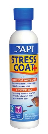 API Stress Coat 8oz treats 480 gal protects fish, removes chlorine/conditions water