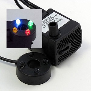 Rena OEM Low-Voltage Pump/LED Light combo,40gph/19.6 in lift Rotating LED Lights R,G,B,Y