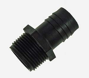 Threaded tubing barb connecter 1""